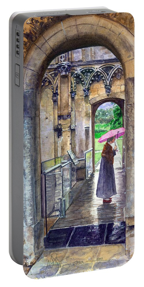Glastonbury Portable Battery Charger featuring the painting Lady Chapel by John D Benson