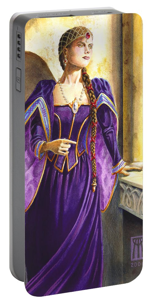 Camelot Portable Battery Charger featuring the painting Lady Ettard by Melissa A Benson