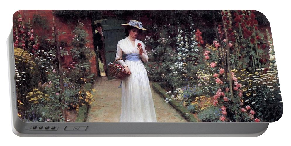 Lady In A Garden Portable Battery Charger featuring the painting Lady In A Garden Edmund Leighton 1893 by Movie Poster Prints