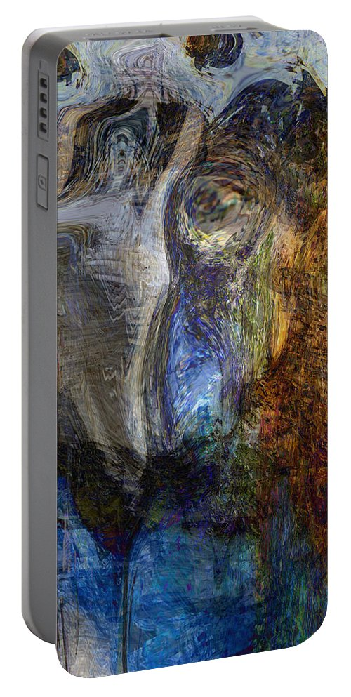 Abstract Art Portable Battery Charger featuring the digital art Lady In Blue by Linda Sannuti