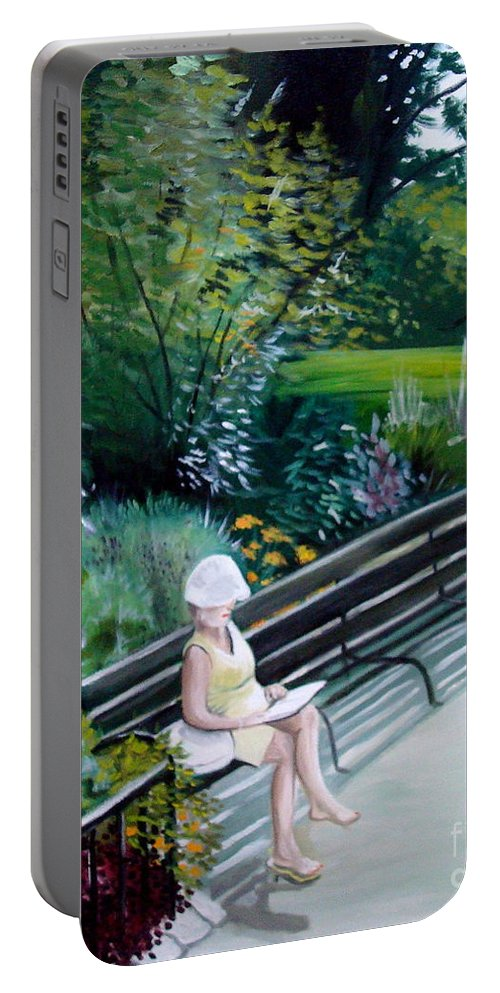 Landscape Portable Battery Charger featuring the painting Lady In Central Park by Elizabeth Robinette Tyndall