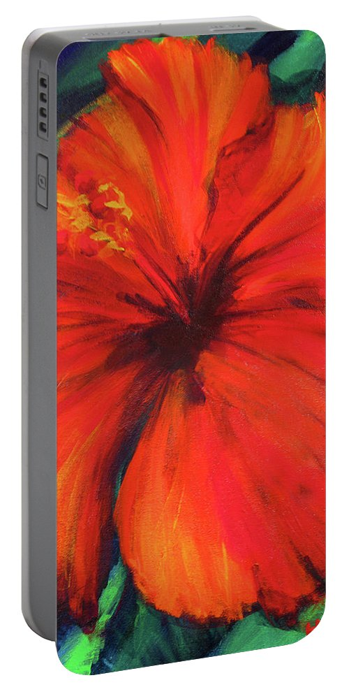 Hibiscus Portable Battery Charger featuring the painting Lady In Red by Hanako Hawaii