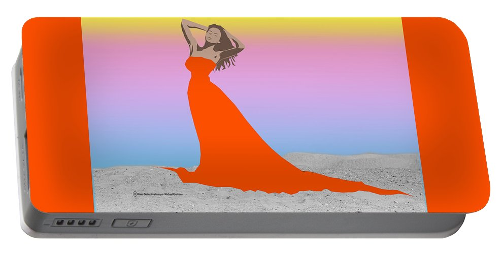 Figurative Art Portable Battery Charger featuring the digital art Lady In Red by Michael Chatman