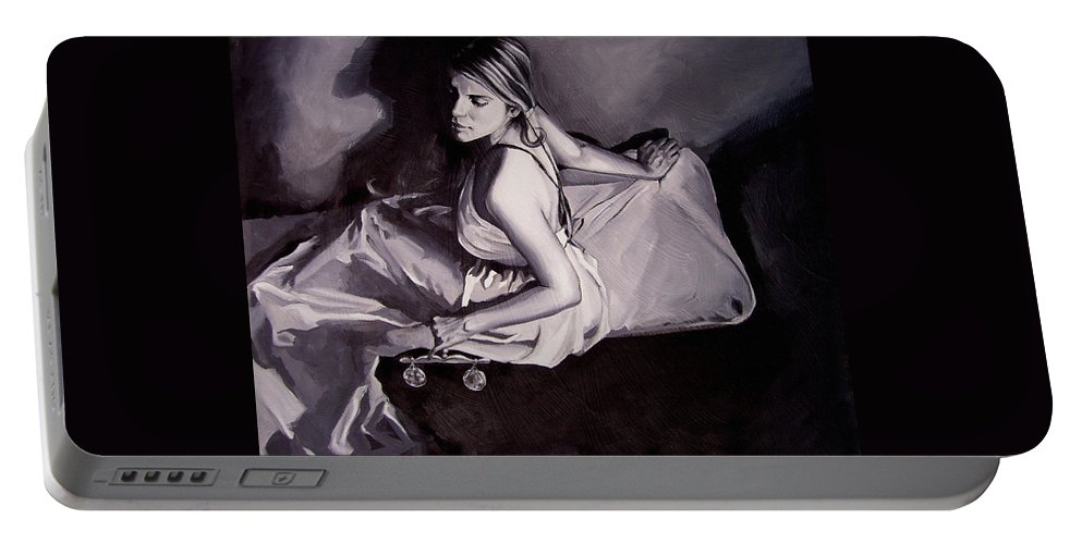 Law Art Portable Battery Charger featuring the painting Lady Justice Black And White by Laura Pierre-Louis