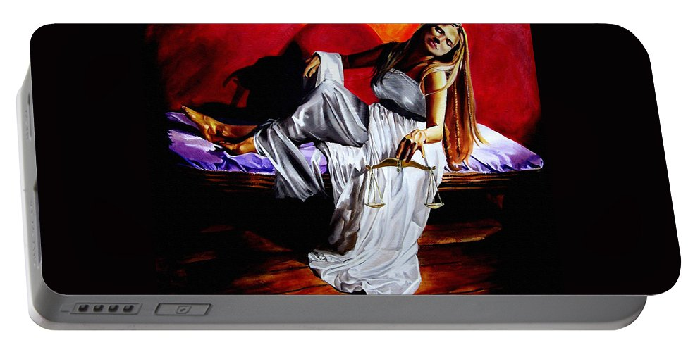 Law Art Portable Battery Charger featuring the painting Lady Justice by Laura Pierre-Louis