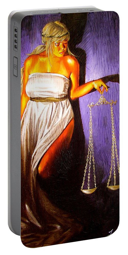 Law Portable Battery Charger featuring the painting Lady Justice Long Scales by Laura Pierre-Louis