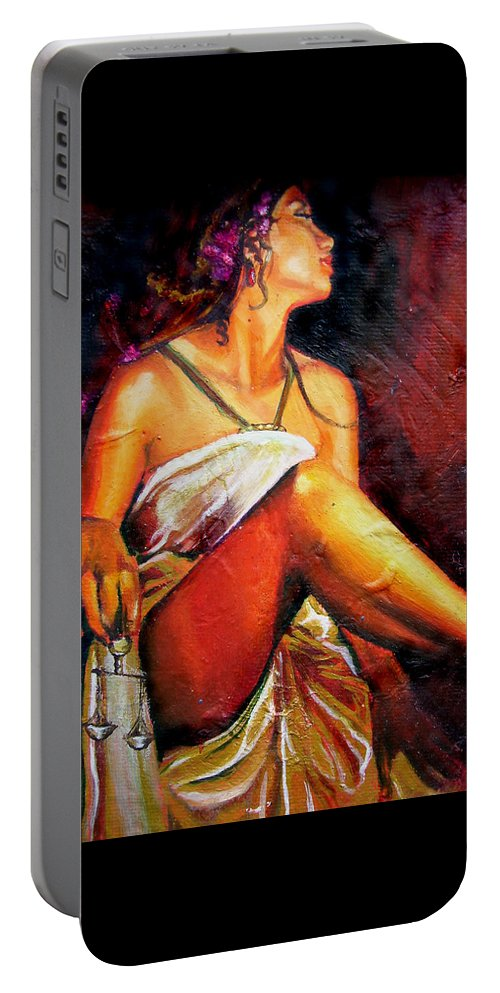 Law Art Portable Battery Charger featuring the painting Lady Justice Mini by Laura Pierre-Louis