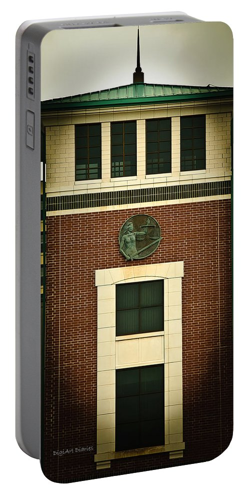 Volusia Portable Battery Charger featuring the photograph Lady Justice Of The New Century by DigiArt Diaries by Vicky B Fuller