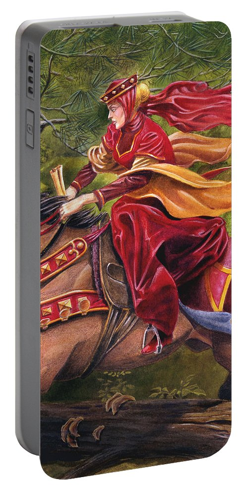 Camelot Portable Battery Charger featuring the painting Lady Lunete by Melissa A Benson