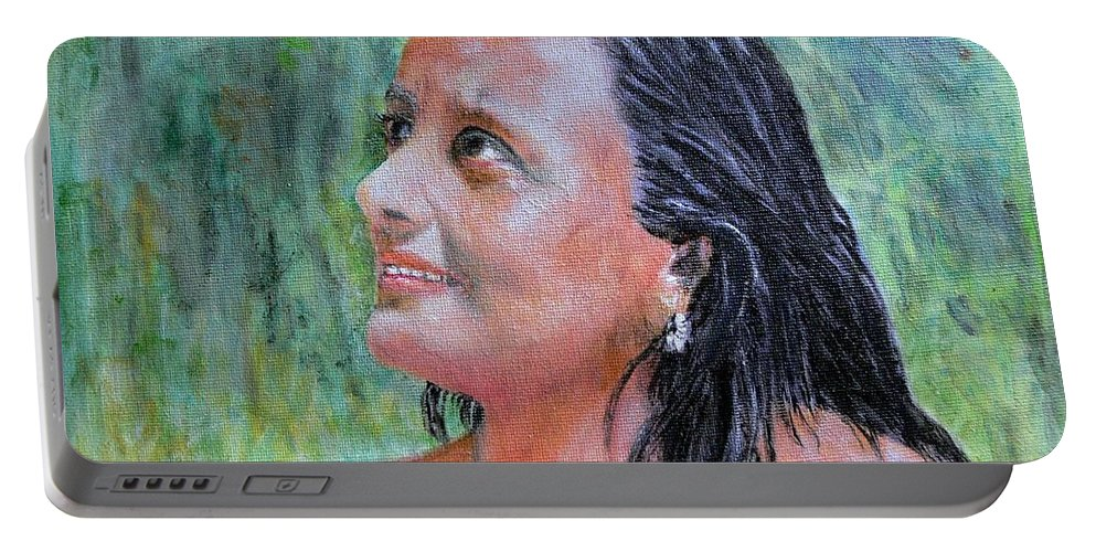 Lady Portable Battery Charger featuring the painting Lady Of India by Helmut Rottler