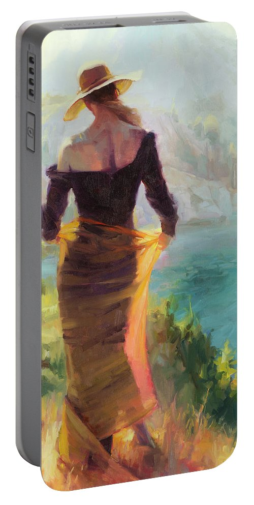 Woman Portable Battery Charger featuring the painting Lady Of The Lake by Steve Henderson