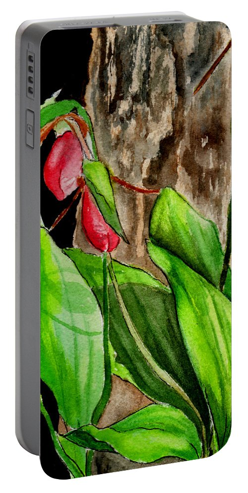 Watercolor Portable Battery Charger featuring the painting Lady Slippers by Brenda Owen