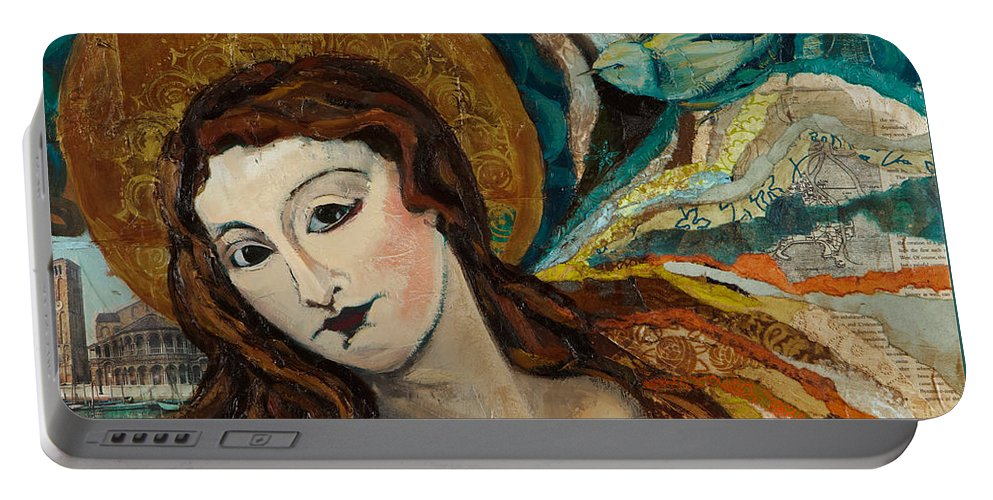 Figure Portable Battery Charger featuring the mixed media Lady With Bird by Michele Norris
