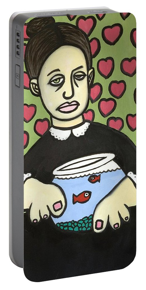 Portable Battery Charger featuring the painting Lady With Fish Bowl by Thomas Valentine