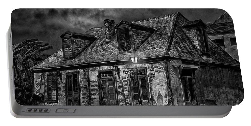 New Orleans Photography Portable Battery Charger featuring the photograph Lafittes Blacksmith Shop Bw by Alex Demyan