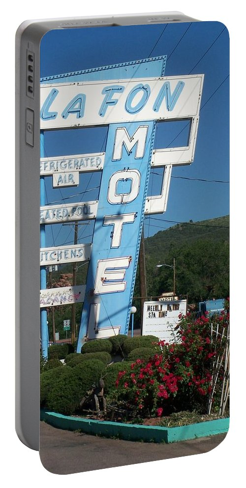 Vintage Motel Signs Portable Battery Charger featuring the photograph Lafon Motel by Anita Burgermeister
