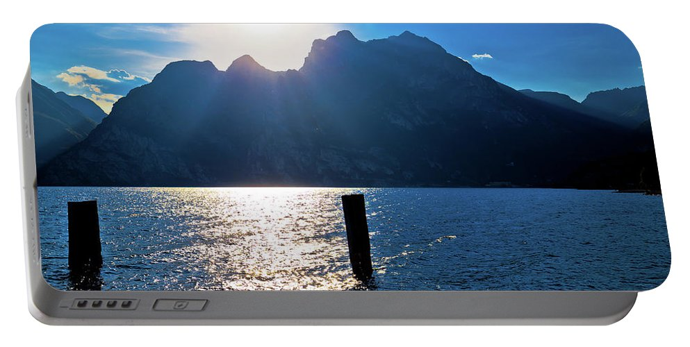 Garda Portable Battery Charger featuring the photograph Lago Di Garda At Sunset View by Brch Photography