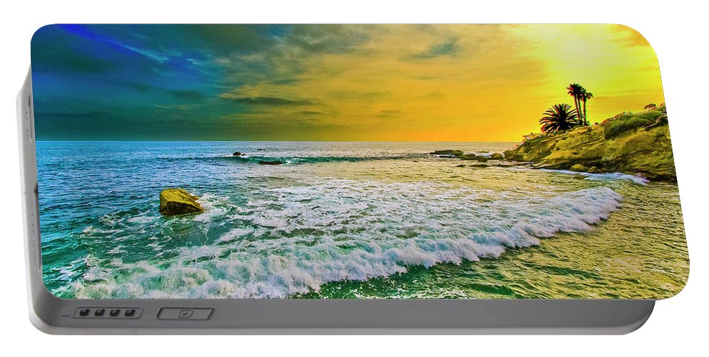 California Portable Battery Charger featuring the digital art Laguna Tides by Amer Khwaja