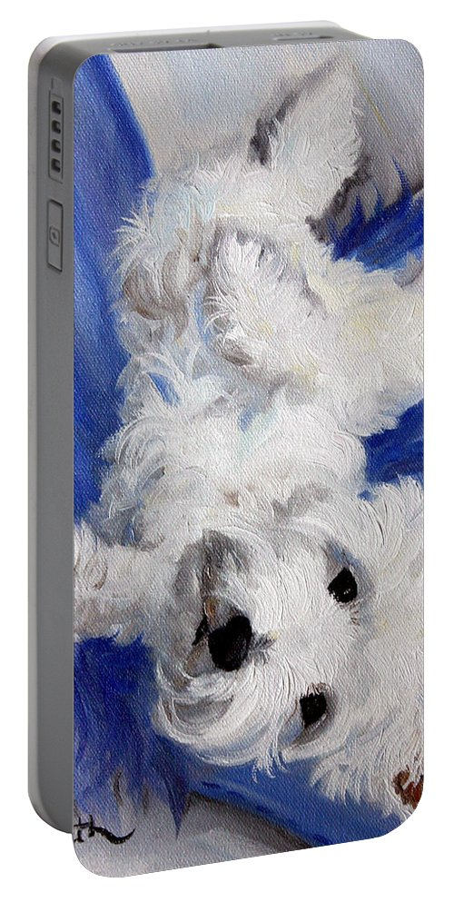 Art Portable Battery Charger featuring the painting Laid Back by Mary Sparrow