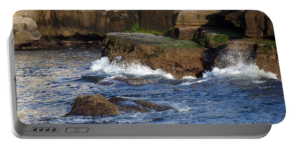 Ocean Portable Battery Charger featuring the photograph Lajolla Rocks by Margie Wildblood