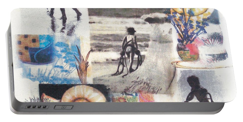 Abstract Portable Battery Charger featuring the painting Lajolla by Valerie Meotti