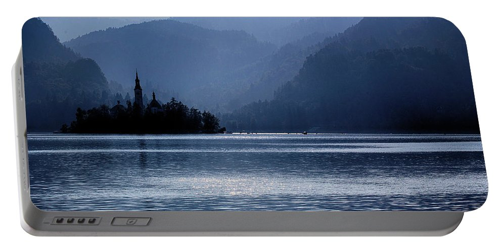 Lake Portable Battery Charger featuring the photograph Lake Bled Twilight by Ceri Jones