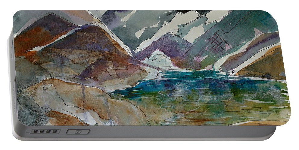 Landscape Portable Battery Charger featuring the painting Lake Collage by Renee Chastant