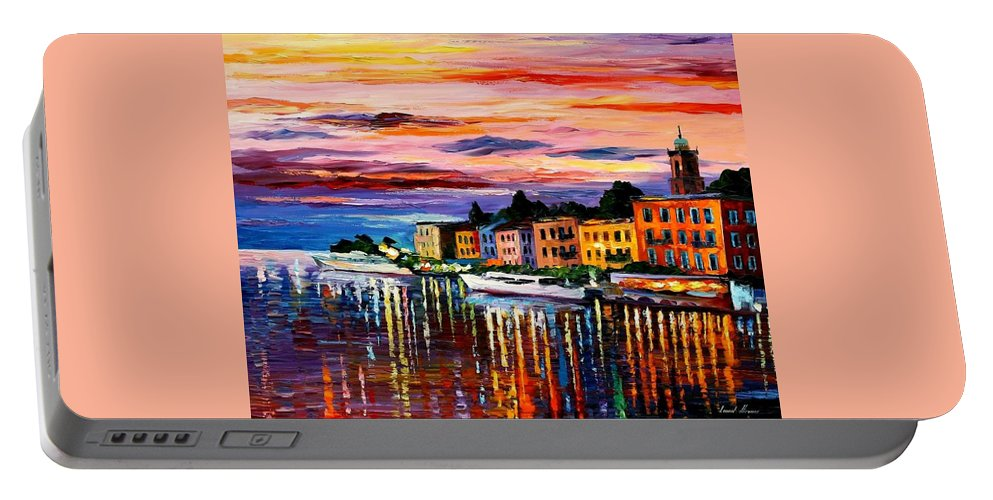 Cityscape Portable Battery Charger featuring the painting Lake Como - Bellagio by Leonid Afremov