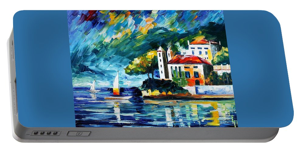 Afremov Portable Battery Charger featuring the painting Lake Como Italy by Leonid Afremov