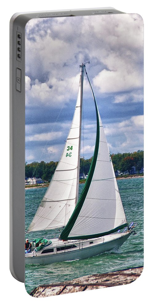 Boat Portable Battery Charger featuring the photograph Lake Erie Sailing 8092h by Guy Whiteley