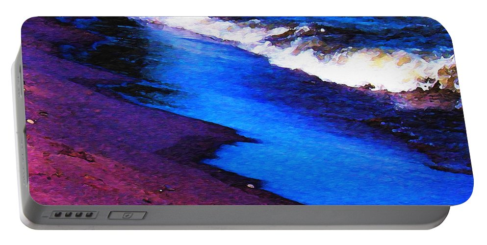 Lake Erie Portable Battery Charger featuring the photograph Lake Erie Shore Abstract by Shawna Rowe