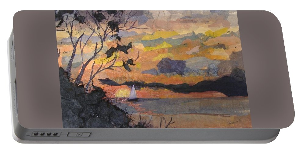 Seascape Portable Battery Charger featuring the mixed media Lake Erie Sunset by Pat Snook