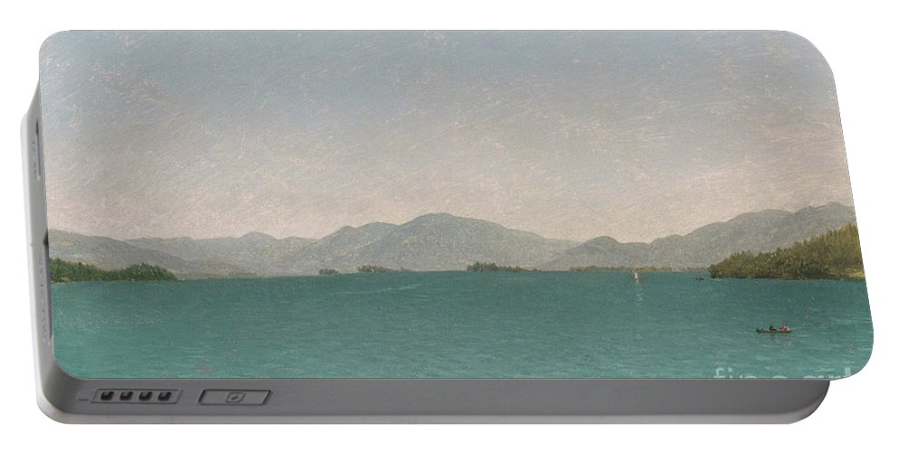 Lake George Portable Battery Charger featuring the painting Lake George, Free Study, 1872 by John Frederick Kensett