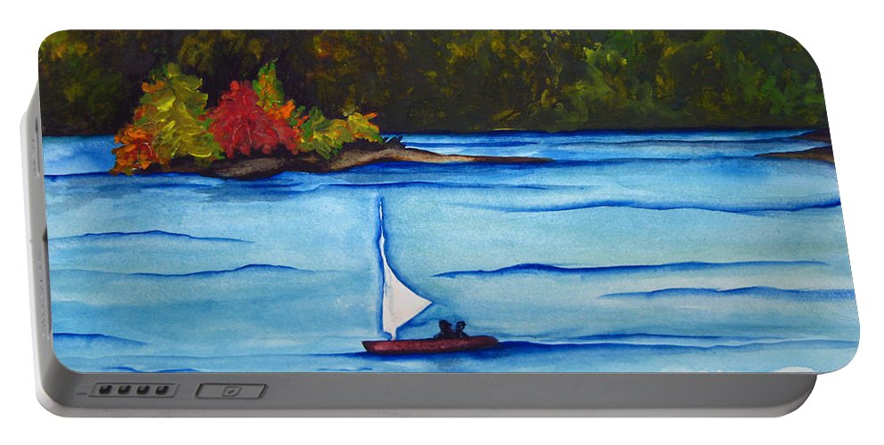 Water Portable Battery Charger featuring the painting Lake Glenville Sold by Lil Taylor