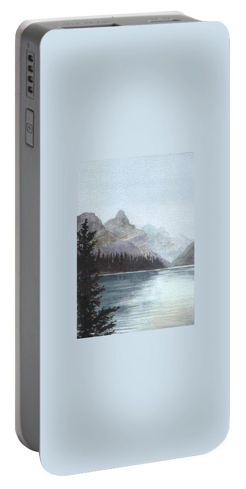 Watercolor Portable Battery Charger featuring the painting Lake Helevorn by Brenda Owen