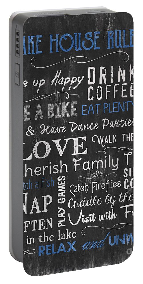 Lake Portable Battery Charger featuring the painting Lake House Rules by Debbie DeWitt