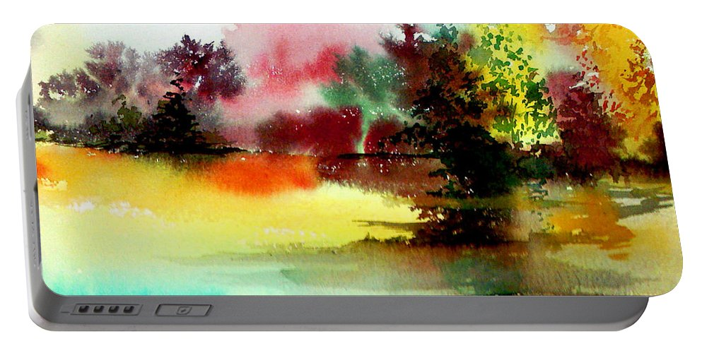 Nature Portable Battery Charger featuring the painting Lake in colours by Anil Nene
