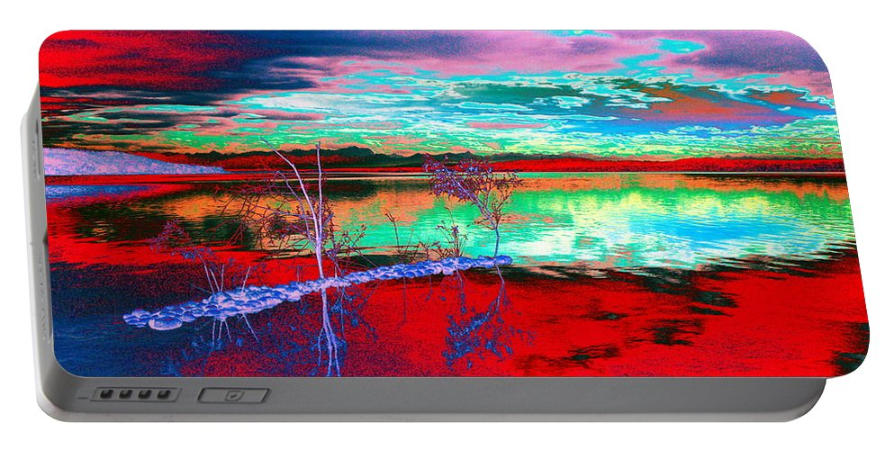 Sea Portable Battery Charger featuring the digital art Lake In Red by Helmut Rottler