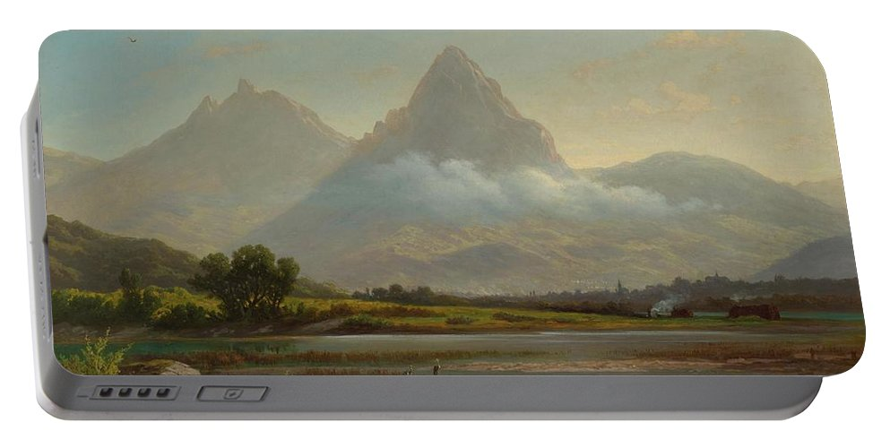 Zelger Portable Battery Charger featuring the painting Lake Lauerz by MotionAge Designs