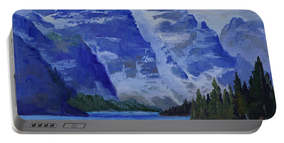 Landscape Portable Battery Charger featuring the painting Lake Marine by Kathy Przepadlo