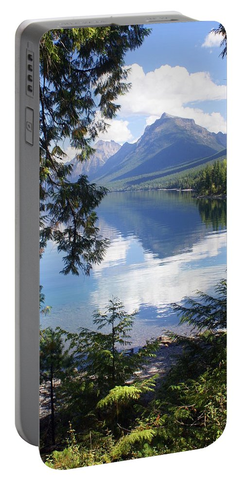 Glacier National Park Portable Battery Charger featuring the photograph Lake Mcdlonald Through The Trees Glacier National Park by Marty Koch