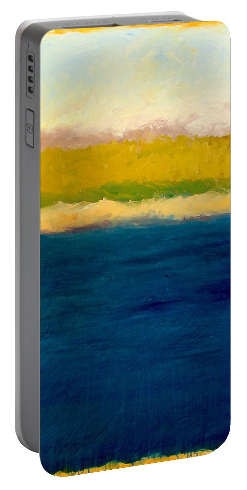 Dunes Portable Battery Charger featuring the painting Lake Michigan Beach Abstracted by Michelle Calkins