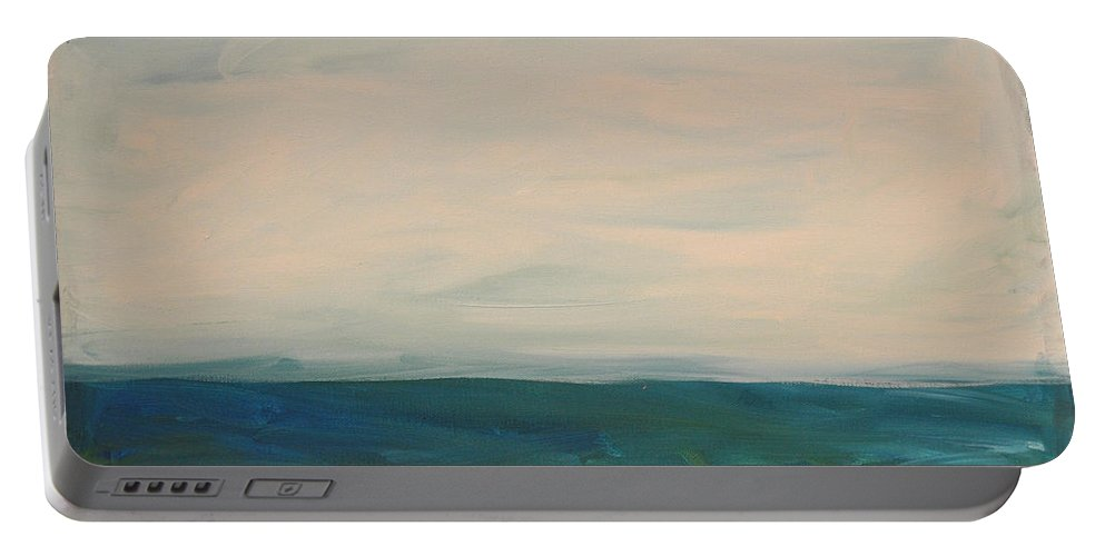 Lake Portable Battery Charger featuring the painting Lake Michigan by Tim Nyberg