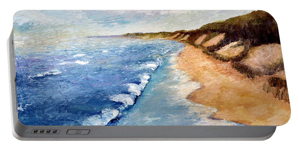 Whitecaps Portable Battery Charger featuring the painting Lake Michigan With Whitecaps Ll by Michelle Calkins