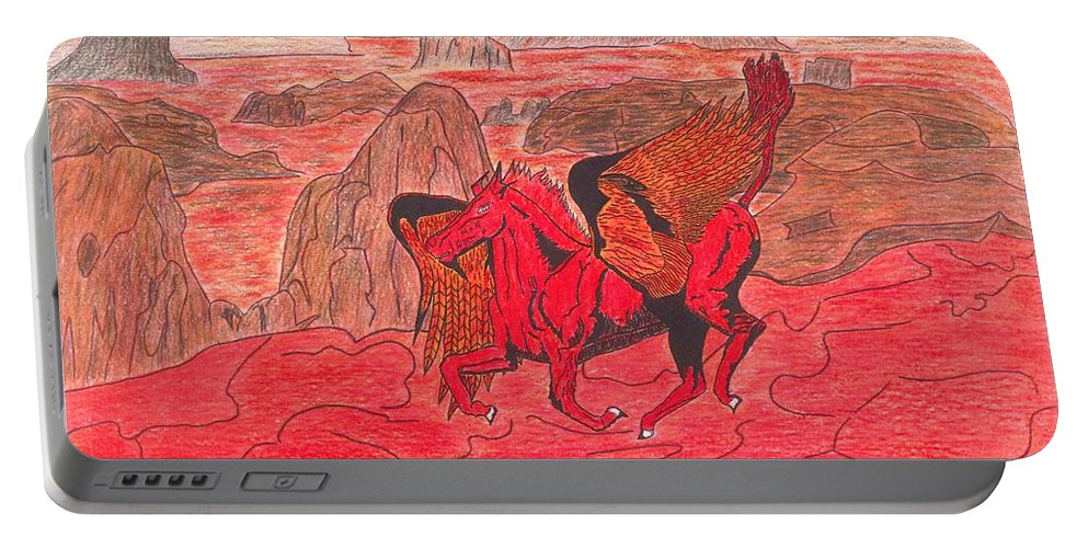 Hell Portable Battery Charger featuring the drawing Lake Of Fire by James Allen