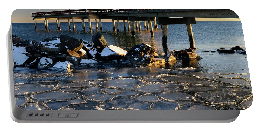 Sunset Portable Battery Charger featuring the photograph Lake Ontario Sunset At Toronto Center Island Pier In Winter With by Reimar Gaertner