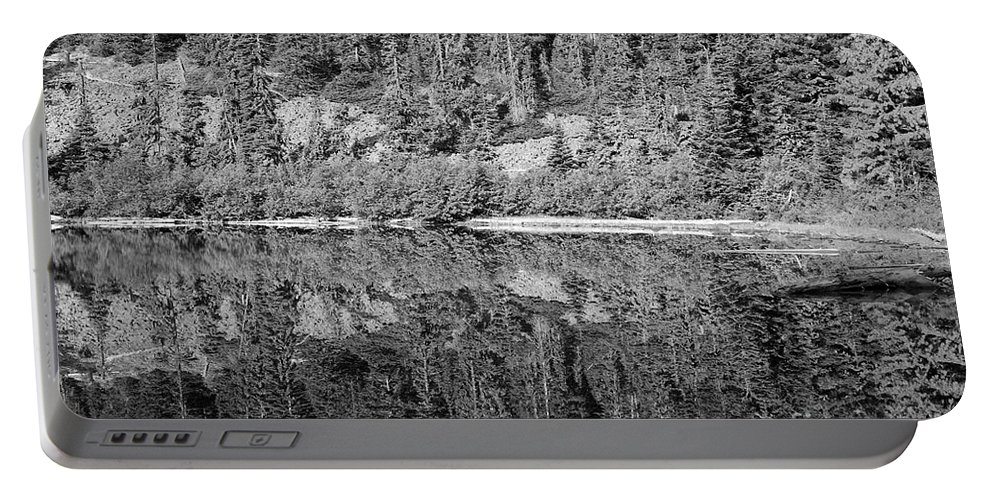 Lake Portable Battery Charger featuring the photograph Lake Reflections In Black And White by Bruce Block