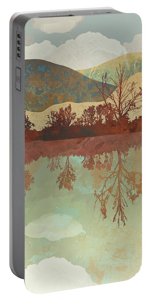 Lake Portable Battery Charger featuring the digital art Lake Side by Spacefrog Designs