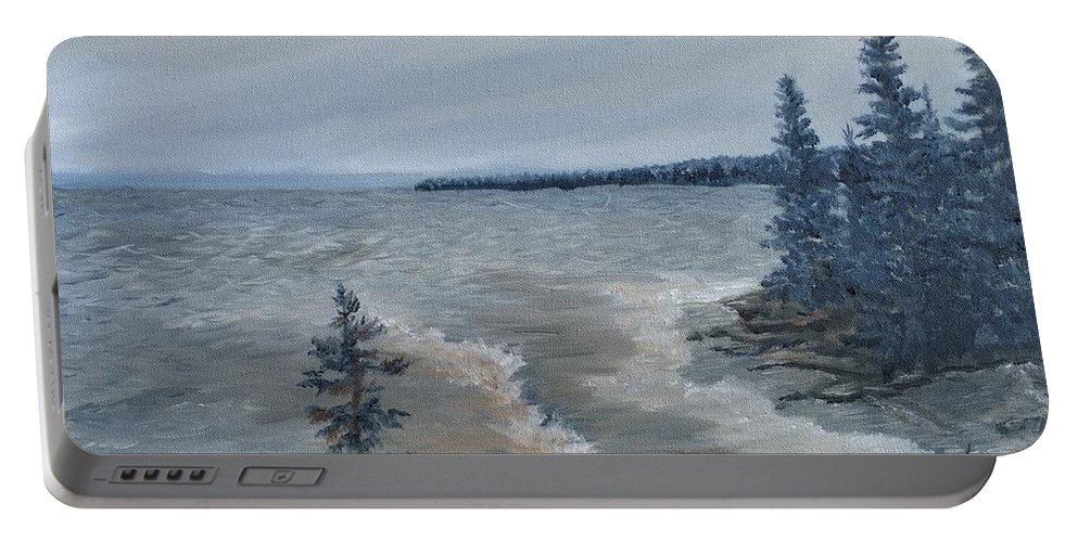 Landscape Portable Battery Charger featuring the painting Lake Superior North Shore Waves by J O Huppler