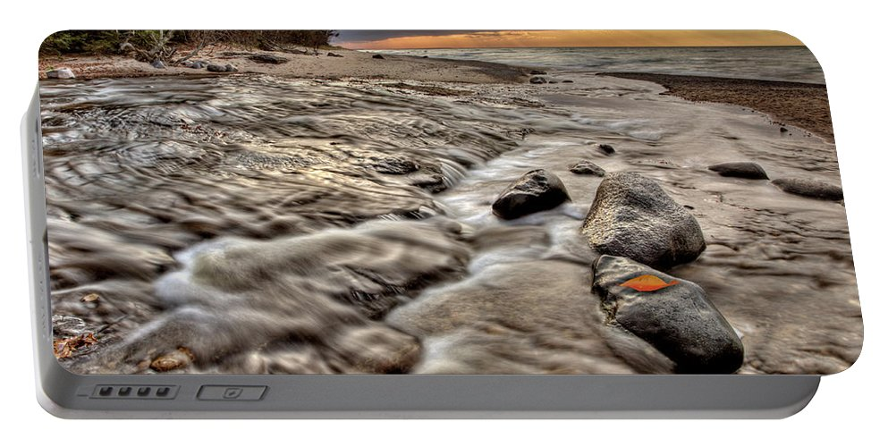 Lake Portable Battery Charger featuring the digital art Lake Superior Northern Michigan by Mark Duffy